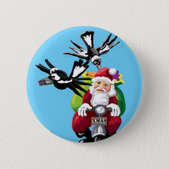 Santa and the magpies 6 cm round badge