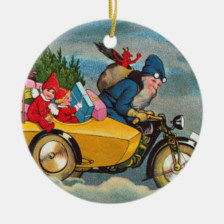 Santa and the Sidecar Round Ceramic Decoration