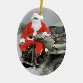 Santa and the WW2 1/4 Ton Truck Christmas Ornament
