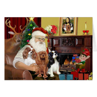 Santa and Three Cavaliers Card