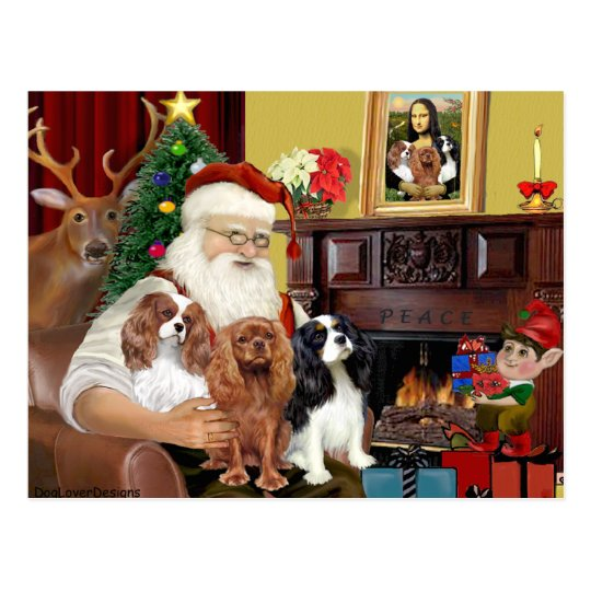 Santa and Three Cavaliers Postcard