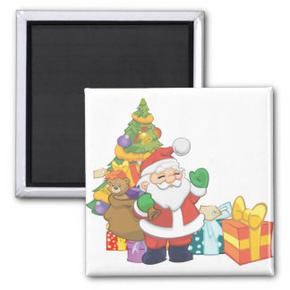 Santa and toys square magnet