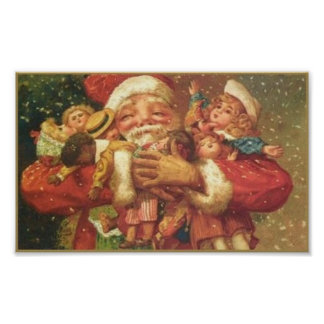 Santa and Toys Vintage Card Print
