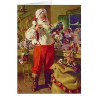Santa and Toys Vintage Christmas Card
