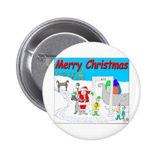 Santa and TSA cartoon - Merry Christmas Cartoon Button