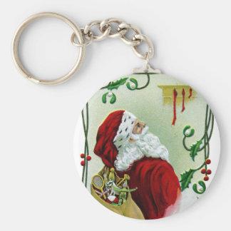 Santa and Twining Vine Vintage Xmas Basic Round Button Key Ring