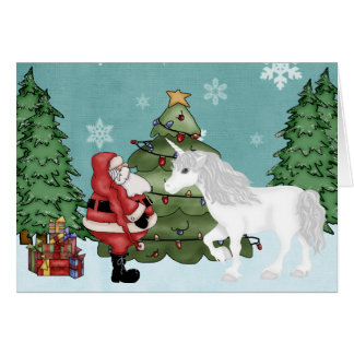 Santa and Unicorn in the Forest Magical Christmas Card
