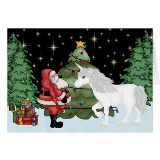 Santa and Unicorn Magical Christmas Holiday Card