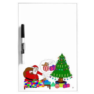 Santa and Yabba beside the Christmas tree Dry Erase Board
