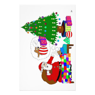 Santa and Yabba beside the Christmas tree Personalized Stationery