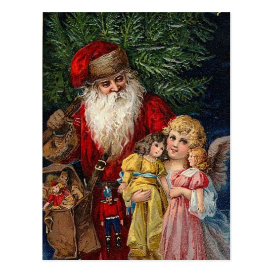 Santa Angel Victorian Dolls Christmas Postcard