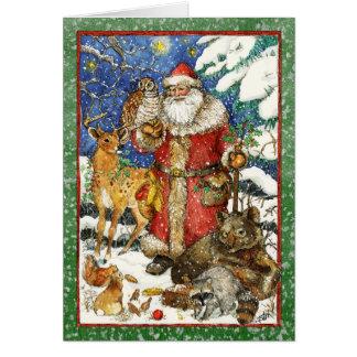 SANTA ANIMAL FRIENDS CARD