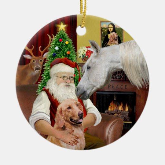 Santa - Arabian Horse and Golden Christmas Ornament