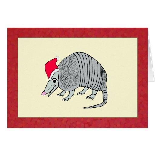 Santa Armadillo Christmas Greeting Card