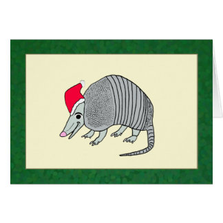 Santa Armadillo Christmas (green border) Card
