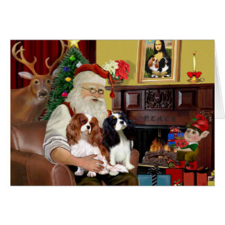 Santa At Home  Cavalier King Charles (two) Card