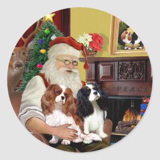 Santa At Home  Cavalier King Charles (two) Classic Round Sticker