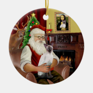 Santa at Home -  Chocolate Point Siamese Christmas Ornament