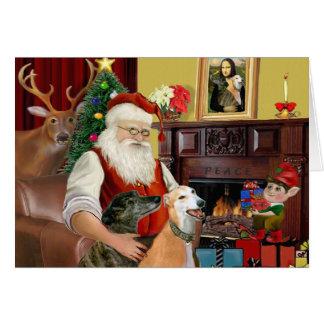 Santa At Home Greyhounds (two) Card