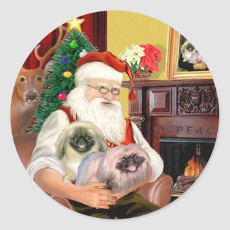 Santa At Home - Pekingese (R) - Santa Classic Round Sticker