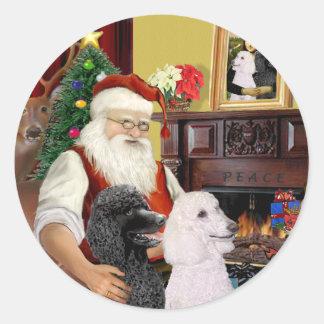 Santa At Home - Poodles (2 Standard) Round Sticker