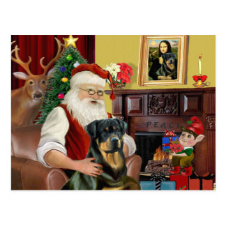 Santa At Home - Rottweiler 3 Postcard