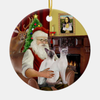 Santa at Home - Two Siamese Cats Christmas Ornament