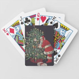 Santa At The Christmas Tree Bicycle Playing Cards