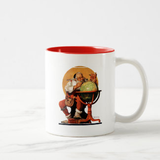 Santa at the Globe Two-Tone Mug