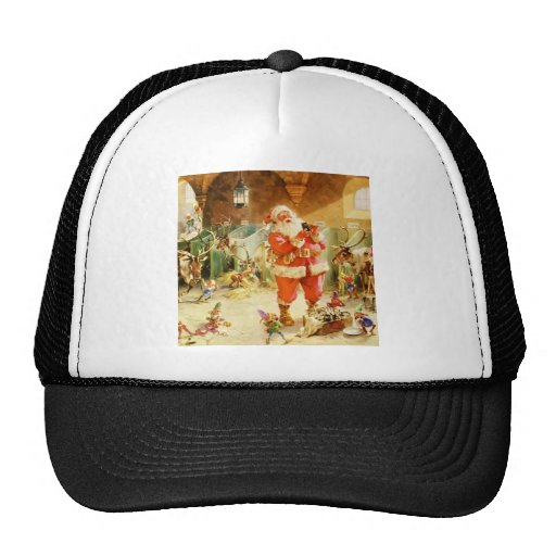 Santa at the North Pole Reindeer Stables Mesh Hats