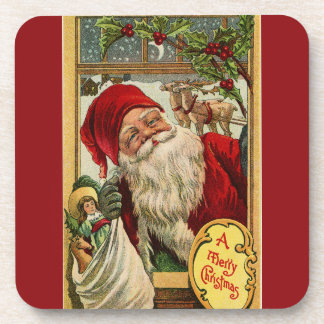 Santa at the Window with Toys Drink Coasters