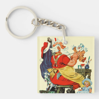 Santa at Work Key Ring