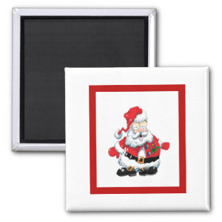 Santa ate too many cookies square magnet