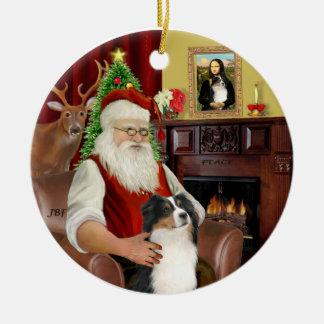 Santa-Aussie Shepherd (Tri 2) Christmas Ornament