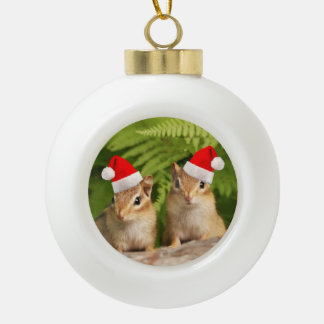 Santa Baby Chipmunks Ceramic Ball Christmas Ornament