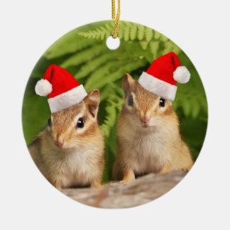 Santa Baby Chipmunks Round Ceramic Decoration