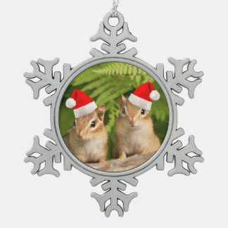 Santa Baby Chipmunks Snowflake Pewter Christmas Ornament