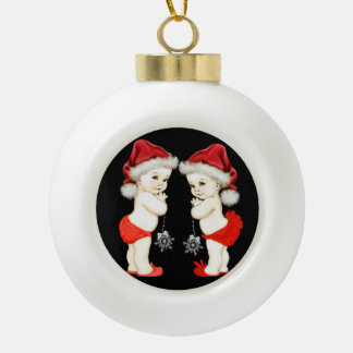 Santa Baby Twin Baby Christmas Ceramic Ball Christmas Ornament