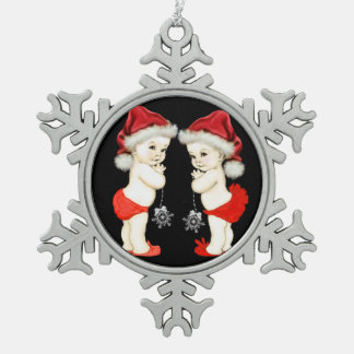 Santa Baby Twin Baby Christmas Snowflake Pewter Christmas Ornament