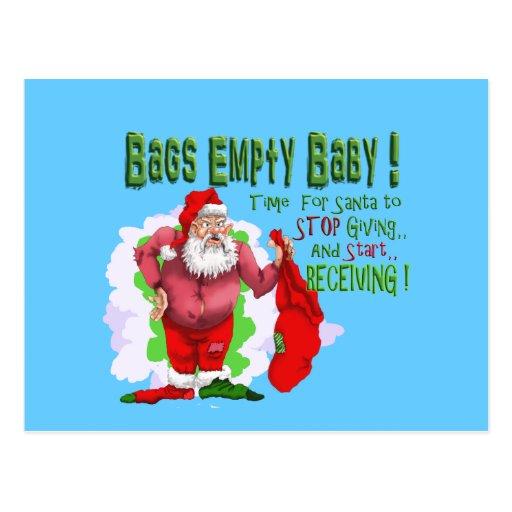santa bags empty funny christmas cartoon postcard