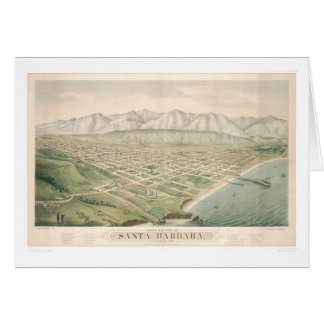 Santa Barbara, CA. Panoramic Map 1877 (1581A) Card