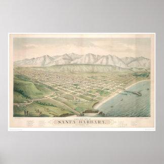 Santa Barbara, CA. Panoramic Map 1877 (1581A) Poster