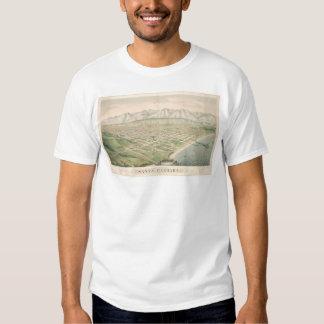 Santa Barbara, CA. Panoramic Map 1877 (1581A) T-shirts