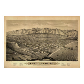 Santa Barbara Cal. 1877 Antique Panoramic Map Poster