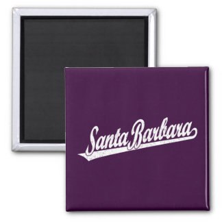 Santa Barbara script logo in white distressed Magnet