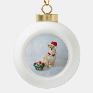 Santa Barkley Ceramic Ball Ornament