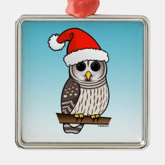 Santa Barred Owl Christmas Silver-Colored Square Decoration