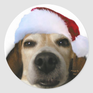 Santa Beagle Sticker