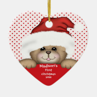 Santa Bear Baby's First Christmas Ornament