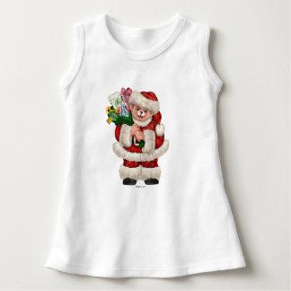 SANTA BEAR CHRISTMAS CARTOON Baby Sleeveless Dress